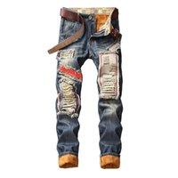Mcikkny Winter Herren Ripped Falted Jeans Hosen Slim Gerade Denim Hosen Für Männliche Größe 28-40 Fleece gesäumt