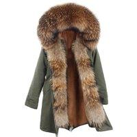 Lavelache Yeni Gerçek Kürk Kadın Uzun Ceket Kış Artı Boyutu Doğal Rakun Kürk Yaka Lüks Parka Ayrılabilir 201103