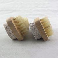 Natürliche Borstenbürste Fußbürsten Peeling Dead Skin Remover Bimsstein Stein Füße Bürste Holz Reinigungsbürste Dusche SPA Massagegerät EEF4334