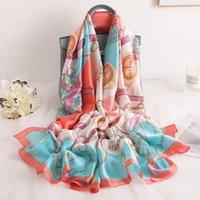 Bufandas China estilo mujer playa moda otoño e invierno bonito cadena impresión envuelve hijab lady seda silenciador mantón