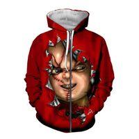 Accetta Gentile Design Cliente Design FAI DA TE Horror Movie Chucky Felpe con cappuccio 3D Donna Uomini 3D Stampa Sublimazione con cappuccio con cerniera