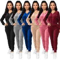여성 벨벳 Tracksuits 후드 스웨터 셔츠 바지 실행 스포츠 트랙 슈트 2 조깅 팀 의류 세트 많은 색상으로 4 개의 다른 모델