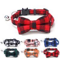 منقوشة القط طوق مع ربطة عنق القوس القابلة للإزالة، القط بوتي أنماط منقوشة، انفصل مشبك سلامة كيتي طوق الحيوانات الأليفة مع جرس صغير، 8 ألوان availa