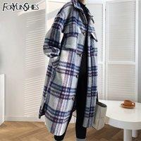 foryunshes 여성 겨울 모직 코트 여성 격자 무늬 인쇄 레트로 따뜻한 두꺼운 긴 재킷 외과 한국 스타일의 outwear 201221