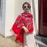 Châle de voyage nouvelles écharpes surdimensionnées femmes longues broder fleur hiver épais épais chaude fine foulard