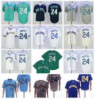 Pullover 1984 1995 retirar jersey de beisebol 24 ken griffey jr vintage verde marinho azul branco azul bege cinza costurado flexbase 2016 base fria