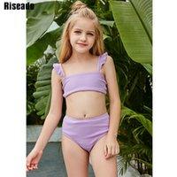 Riseado púrpura bikini conjunto volante traje de baño alta cintura niña traje de baño sexy bikinis niños 2021 verano ropa de baño traje de baño J1208