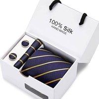 Bugkrawatten 7.5cm Wide Business Office Herren Hochzeit Pfeil Punkt Plaid Jacquard Männer Krawatte Taschentuch Manschettenknöpfe Geschenkbox Verpackung
