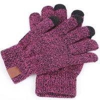6 colores guantes de punto hombre mujer sólido invierno caliente guante portátil deportes al aire libre cinco dedos guantes de pantalla táctil para iphone 12 pro max