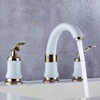Banyo Lavabo Bataryaları Havzası Retro Beyaz Mikser Dokunun Çift Kolu Güverte Monte 3 Delik Fırçalanmış Musluk ve Soğuk Su1