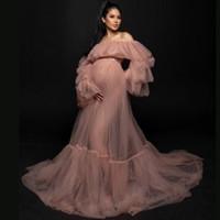 Real Photos Tulle Robe de maternité pour la photographie Pre Raphaelite Inspirée Robe Boho maternité robe Voir à travers une maille Robe longue