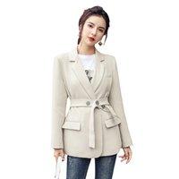 Feminino Frauen tragen modische Anzüge mit engen Taillen Blazer Frau Professionelle langarm Mantel