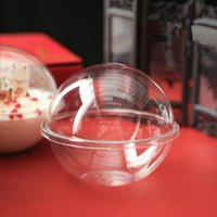 50 قطع الفاكهة سلطة الكرة مربع موس كعكة شفافة الجوف البلاستيك الكرة الخبز المعجنات التعبئة والتغليف الحلوى كوب حزب صالح هدية مربع