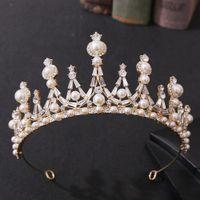 Sıcak Satış Beyaz Kristal Pearlbridal Takı Tiara Headpieces Taç Gelin Prenses Taç Başlığı Düğün Gelin Aksesuarları için