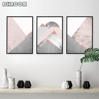 Pinturas Set de 3 montañas Pósters y estampados Blush Pink Grey Wall Art Abstract Canvas Pintura Escandinava Moderno Cartel Decoración