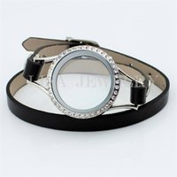 Charme Armbänder Design Schwarz Kristall Pu-Leder Floating Memory Living 30mm Twist Glas Medaillon Armband