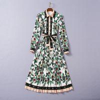 1013 XL 2020 Ücretsiz Kargo Sonbahar Bir Çizgi Uzun Kollu Lapl Boyun Beyaz Boncuk Orta Buzağı Elbise Balo Moda Flora Baskı Marka Aynı Stil SH