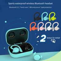 Stereo Macaron TWS Auricolare Bluetooth T20 Wireless Hi-Fi Earhook IPX6 impermeabile auricolari Touch Control Gioco Sport auricolare BT 5.0 Cuffie
