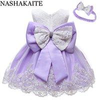 Vestidos de niña Vestido de bebé Nashakaite Lace Back Bound Bow Princess Ball Vestido Fiesta Fiesta First Cumpleaños Niños para niñas