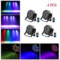 Hızlı Teslimat 36 W 36-LED RGB Uzaktan Oto Ses Kontrolü DMX512 Yüksek Parlaklık DJ Bar Parti Sahne Lambası Wit * 4 Yüksek Kalite Par Işıkları