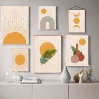 Pinturas Boho Wall Art Canvas Pintura Sun Moon Plantas Prints Resumen Terracotta Galería Fotos Nordic Pósteres Sala de estar Decoración