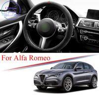 Volant de voiture Alcantara Couverture de roue en daim Bande de garniture pour Alfa Romeo Stelvio Giulia Alfa 4C 8C Universal 38cm 15 pouces Accessoires d'intérieur