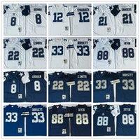NCAA Retro Vintage Football Mens # 8 Troy Aikman 12 Roger Staubach 21 Deion Sanders 22 Emmitt Smith 33 Tony Dorsett 88 Michael Irvin Jerseys