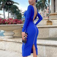 Newasia Blue Party Dress Manga Longa Zíper Cintura alta V Neck Stretch Vestidos Longos para Mulheres Sexy Club Outfits Outono Streetwear
