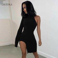 Günlük Elbiseler Seksi Bir Omuz Elbise Kadınlar Uzun Kollu Asimetrik Yan Bölünmüş Parti Clubwear Mini Bodycon Vestidos Sonbahar Katı Siyah