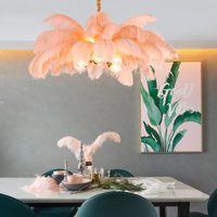 Nordic Light Luxury Люстры Creative Одежда CTORE G9 Все медный светодиодный подвесной лампы романтическая принцесса спальня страуса перо