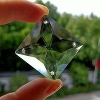 4 Delik Kare Kristal Prizmalar Temizle Cam Avize Kristaller Boncuk Kolye Suncatcher Ev Dekorasyon Asılı Süs 35mm H Jllfnd