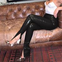 Nadafair Black Leather Pants Women 2020 Fashion Design Split Autumn Winter PU Trousers High Waist Ladies Pencil Club Sexy Pants