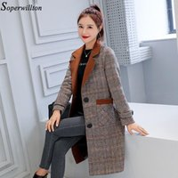 Women's Wool Blends Cappotto 2019 Autunno Inverno Ufficio Lady Elegante Turn Down Collo Plaid Slim Doll Middle Long Lany Capisparimento femminile1