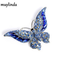 Rhinestone amimal mariposa broches para las mujeres gran mariposa broche pin vintage moda joyería de invierno accesorios de invierno 6 colores