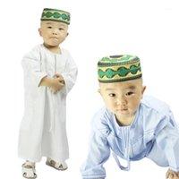 이슬람 소년 Abaya Kids Kaftan 이슬람 의류 소년을위한 아랍어 쥬 바바 토귀 1-3 세 유아 사우디 아라비아 자수 Robes1