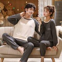 FOPLY casal pijama conjunto 100% algodão homewear estilo fresco manga comprida sleepwear novo outono pj set para amante pijamas mujer terno 201102