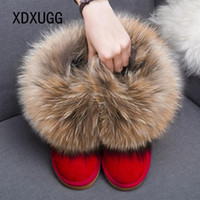 Women Boots Genuine Leather Real Fox Fur Brand Winter Shoes Warm Black Round Toe Casual Plus Size Female Snow Boots DE 201126