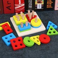 Puzzle 3D Giocattoli di impilamento in legno per bambini Montessori materiali geometria Puzzle Giocattoli educativi per il bambino Ordinamento Niding Toy LJ201113