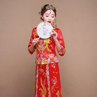 Ethnic Clothing High Quality Gorgeous Vintage Cheongsam Qipao Grosgrain Traditional Chinese Wedding Dress Red Canton Embroidery Design