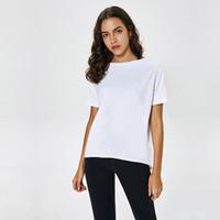 Não vê através de tops de yoga t-shirt cores sólidas mulheres moda ao ar livre yoga tanques esportes rodando roupas de ginástica