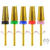 Nail Art Equipment 5pcs / lot Pro 7mm 5 in 1 schnellsten Entfernen von Acryl- oder polnischen Gels-Hartmetall-Bohrer-Fräser-Kautschuk-Reinigungswerkzeuge