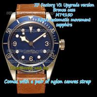 ZFF V2 Обновление версии Бронзовый чехол ETA A2824 Автоматический синий циферблат 79250 Мужские часы Античная кожаная лента спортивные вечности Часы 0003 0004 0002