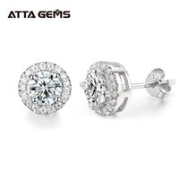 EF Round Cut Total 0.5ct Diamond Test Passed Moissanite Rhodium Plated 925 Silver Moissanite Earrings Jewelry Girlfriend Gift J1202