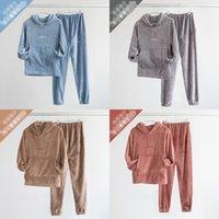 Hoodies Pyjamas Set Solid Color plus Samt Herbst Winter Damen Langarm Hosen Zwei Teile Anzug Womens Haus Lässig Schlaf Kleidung 45DN L2