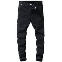 Multi-Pockets Multi-Pockets de Black Hommes Outillage Denim Streetwear Cargo Pantalons Hommes Jeans Fashion Designer Haute Qualité Hip Hop Homme