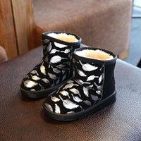 Ботинки детская снежная зима круглая носящая печать мальчики девушки короткие для детей водонепроницаемые кожаные туфли PU