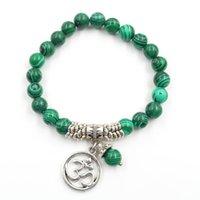 10 pcs tissage à tissage à main brins élastiques bracelet malachite pierre perles rondes noires agate argent plaqué argent 3D bijoux