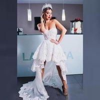 Vestito da sposa più nuovo alto alto basso 2021 Sweetheart Lace Applique Tulle Long Sweep Summer Bride Vesidos de Fiesta