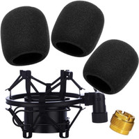 Mic Large Foam Cover Microphone Windscreen with Shock Mount ,MXL,Condenser Microphone,Mic Anti-Vibration Suspension Shock Mount Holder Clip