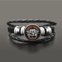 Classique US Route 66 Bracelet En Cuir Punk Cuir Dôme Cabochon Button Snap Bracelets pour hommes Femmes